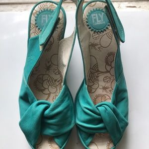 Teal Fly London Yakin wedge sandals size 40